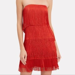 Alexis red fringe mini dress